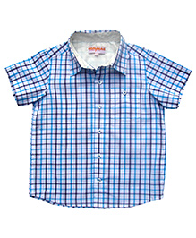 Campana Half Sleeve Check Shirt Cotton - Blue And White