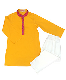 Campana Full Sleeves Kurta Pyjama Set - Mustard