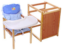 Mee Mee Wooden Convertible High Chair Set - Triangle Print