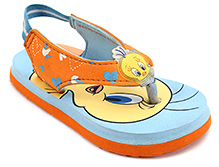 Tweety Flip Flops With Back Elastic Strap - Sky Blue