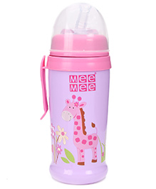 MeeMee Colourful Sipper Bottle With Soft Straw - Pink And Purple
