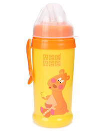 MeeMee Colourful Sipper Bottle With Soft Straw - Yellow And Orange
