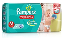 Pampers Pant Diapers Light And Dry Medium - 42 Pieces