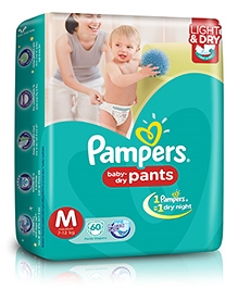 Pampers Pant Diapers Light And Dry Medium - 60 Pieces