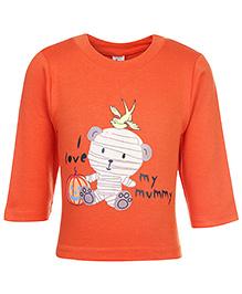 Cucumber Full Sleeves T-Shirt With I Love My Mummy Print - Orange - 6 Months