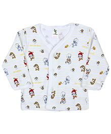 Cucumber Full Sleeves Vest Duck Print - White And Multi