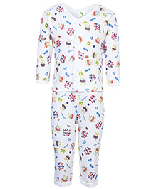 Cucumber Full Sleeves Night Suit - Blue And White