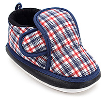 Little Baby Booties Check Print With Musical Sound - Blue and Orange