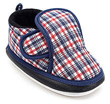 Littles Baby Booties Check Print With Musical Sound - Blue and Red