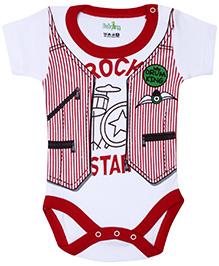 Babyhug Half Sleeves Onesie Jacket Style - Red