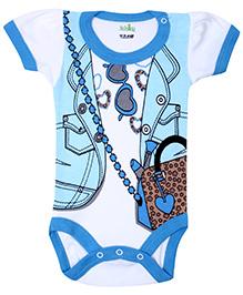 Babyhug Half Sleeves Onesie Jacket Style - Blue And White