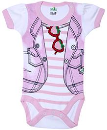Babyhug Half Sleeves Onesie Jacket Print - Light Pink