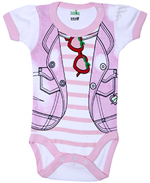 Babyhug Half Sleeves Onesie Jacket Print - Light Pink