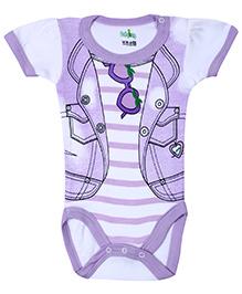 Babyhug Half Sleeves Onesie Jacket Print - Light Purple