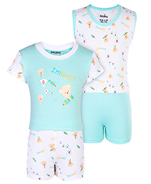 Babyhug 4 Piece Set With Teddy Print - White and Blue