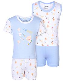 Babyhug 4 Piece Set With Teddy Print - White And Blue