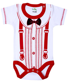 Babyhug Half Sleeves Onesie Button And Bow Print - Red And White-