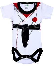 Babyhug Half Sleeves Onesie Belt Print - Black and White