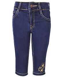 Babyhug Flower Embroidered Capri - Navy Blue
