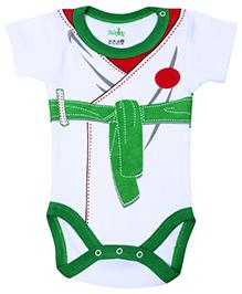 Babyhug Half Sleeves Onesie Belt Print - Green and White