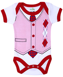 Babyhug Half Sleeve Onesie Button Ans Square Print - Red And Pink