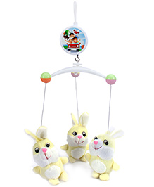 Fab N Funky Cot Mobile Rabbit Design - White And Yellow