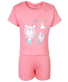 Babyhug Half Sleeves T-Shirt And Shorts Set With Teddy Print - Pink