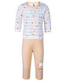 Cucumber Full Sleeves T-Shirt And Legging Street Rally Print - Orange