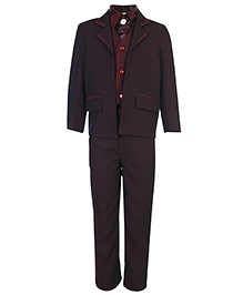 Babyhug Full Sleeves Five Piece Party Suit - Maroon