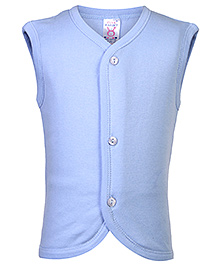 Pink Rabbit Sleeveless Plain Vest - Blue
