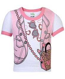 Babyhug Short Sleeves Top Jacket Print - Pink And White