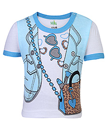 Babyhug Short Sleeves Top Jacket Print - Blue And White