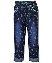 Babyhug Denim Printed Capri With Turn Up Bottom - Navy Blue and Green