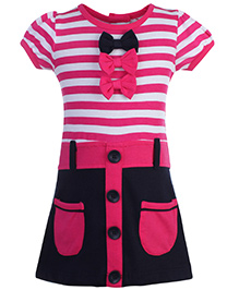 Doreme Short Sleeves Frock Stripes Pattern Print - Pink