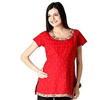 Morph Short Sleeves Maternity Kurta Style Top Red