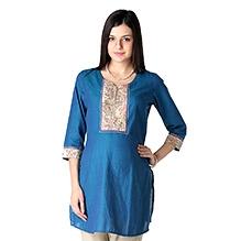 Morph Long Sleeves Maternity Kurta Style Top Blue