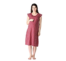Morph Cap Sleeves Nursing Gown Striped Cherry Red
