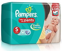 Pampers Pant Diapers Light And Dry Small - 9 Pieces