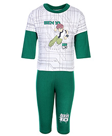 Cucumber Doctor Sleeves T-Shirt And Legging Set With Ben 10 Print - Green