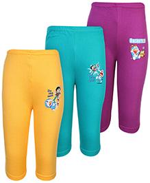 Cucumber Track Pant Multicolor With Doraemon Print - Set of 3