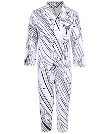 Cucumber Full Sleeves Front Opening Night Suit With Batman Print - White