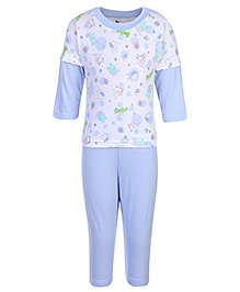 Cucumber Doctor Sleeves T-Shirt And Legging With Bunny Print - Blue and White