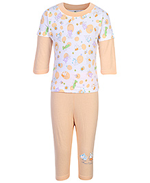 Cucumber Doctor Sleeves T-Shirt And Legging With Bunny Print - Orange and White