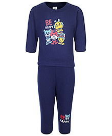Cucumber Full Sleeves T-Shirt And Legging With Be Happy Print - Navy Blue