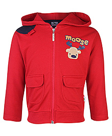Cucumber Full Sleeves Hooded Sweatshirt Moose Print - Red