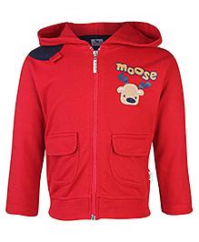 Cucumber Full Sleeves Hooded Sweatshirt Moose Print - Red