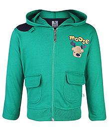 Cucumber Full Sleeves Hooded Sweatshirt Moose Print - Green