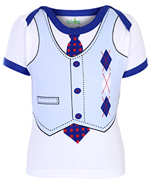 Babyhug Half Sleeves T-Shirt With Suit And Tie Print - Blue