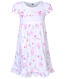 Teddy Short Sleeves Frock Girl Print - White And Pink