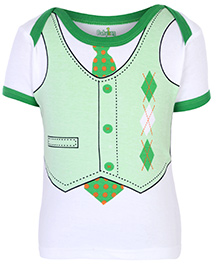 Babyhug Half Sleeves T-Shirt With Suit And Tie Print - Green